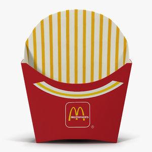 3d french fry box mcdonalds model