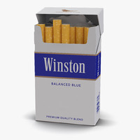 3d opened cigarettes pack winston model