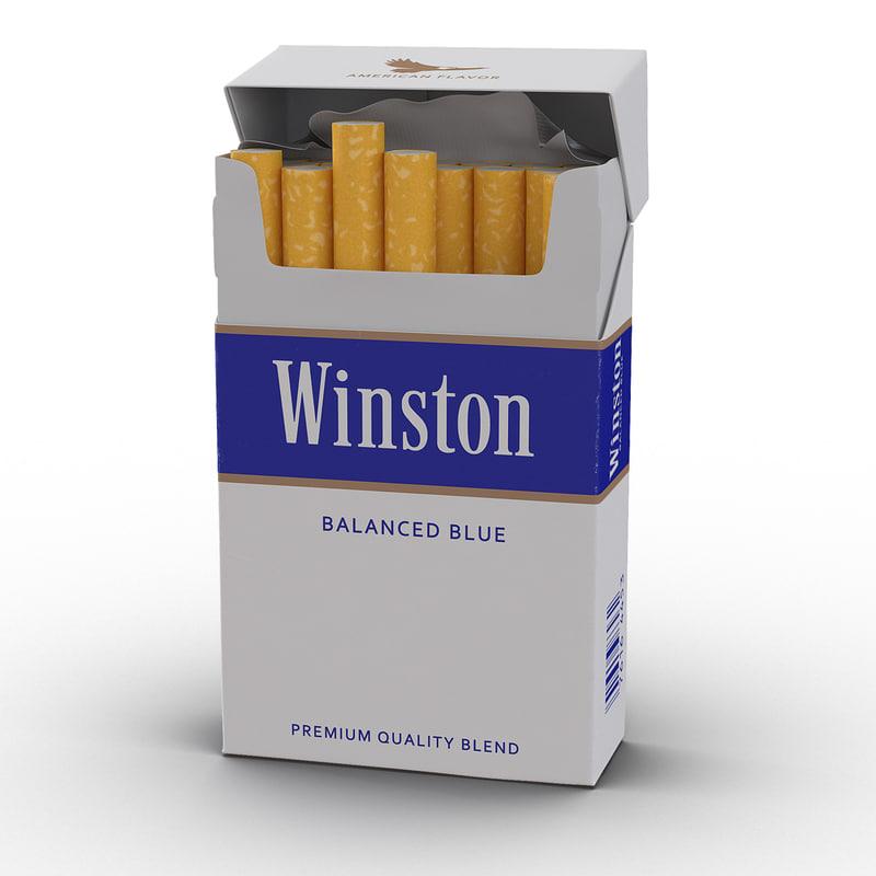 3d opened cigarettes pack winston model