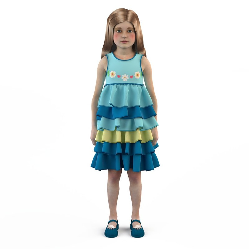 3d fashion baby dressed girls