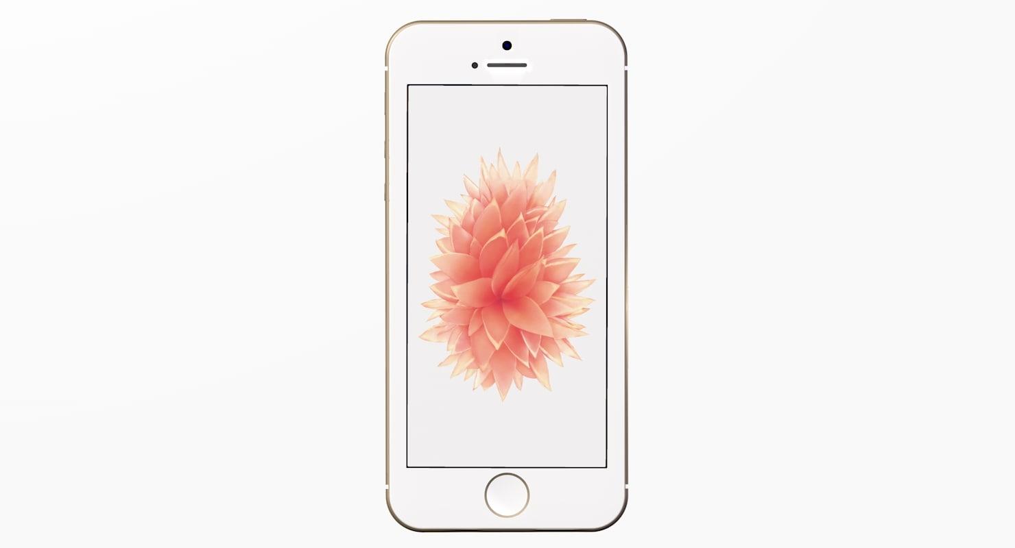new iphone se gold 3d model