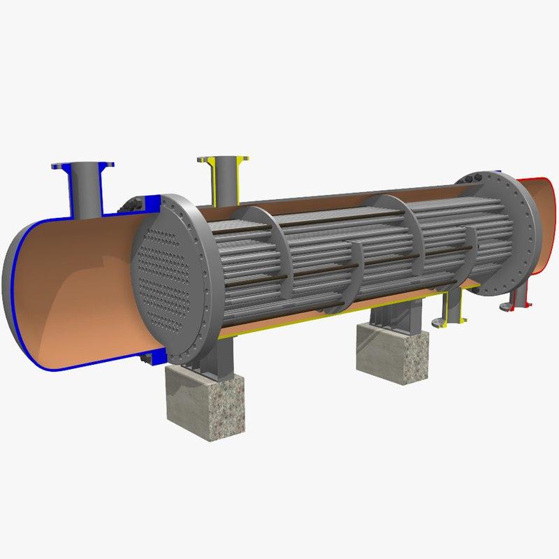 fixed tube heat exchanger 3d max
