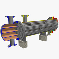 3d floating head heat exchanger model