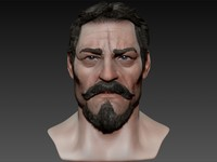 macho realistic male head 3d model