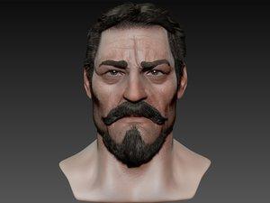 macho realistic male head 3d model