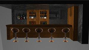 bar wine bottles 3d model