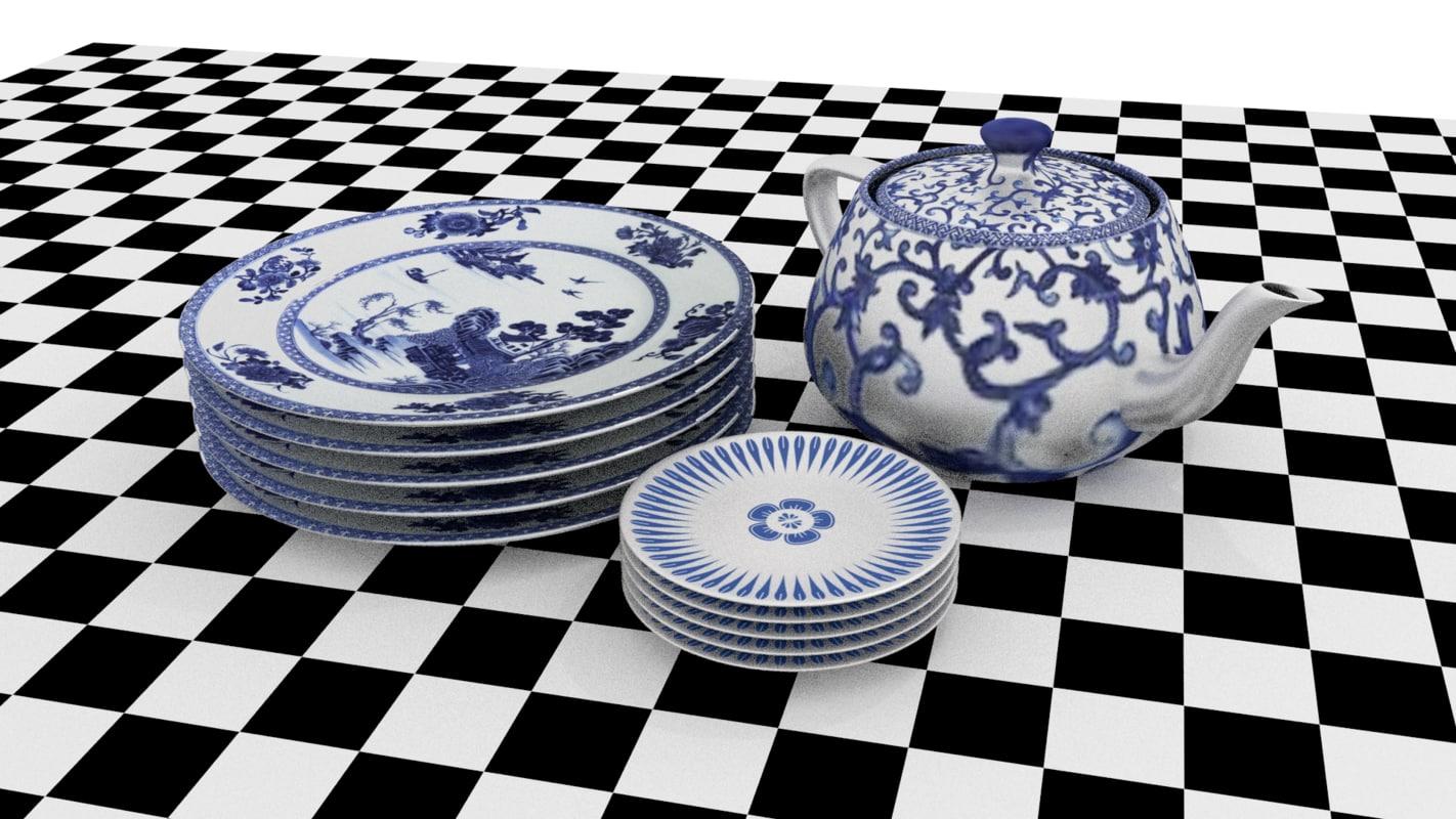 set porcelain 3d 3ds