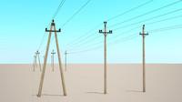 3d power lines 6-10kv model