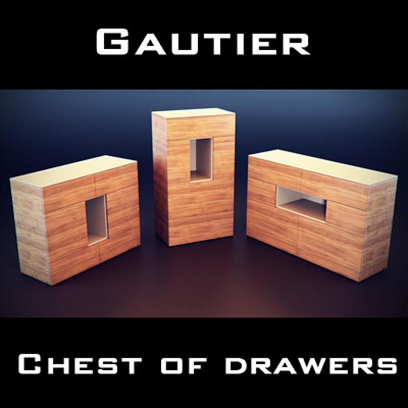 gautier oriade drawer chest 3d model