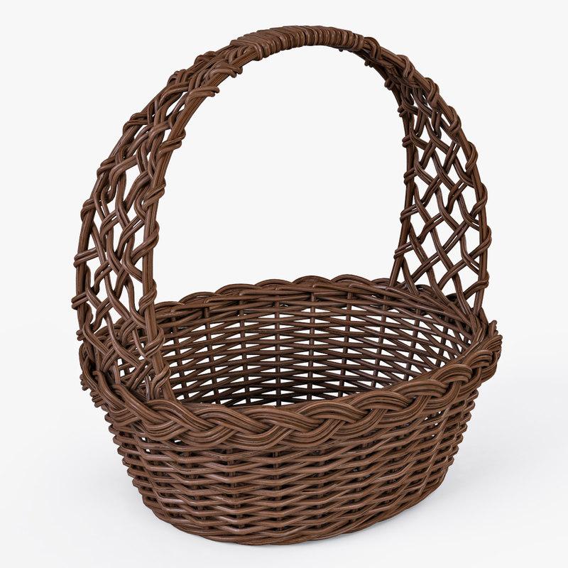 wicker basket color 3d max