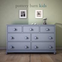 3d model potterybarn catalina extra-wide dresser