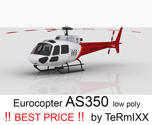 helicopter eurocopter as350 3d max
