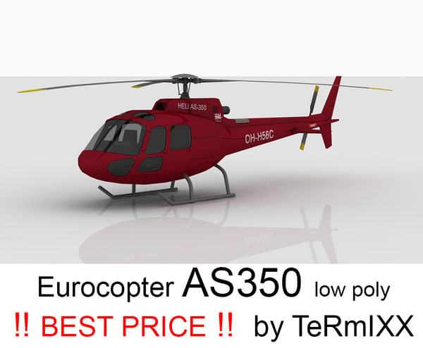 helicopter eurocopter red as350 3ds