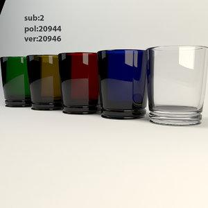 3d drink glass colors model