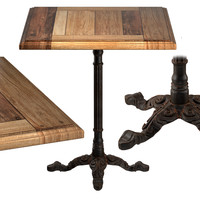Cast Iron and Oak Restourant Table Square