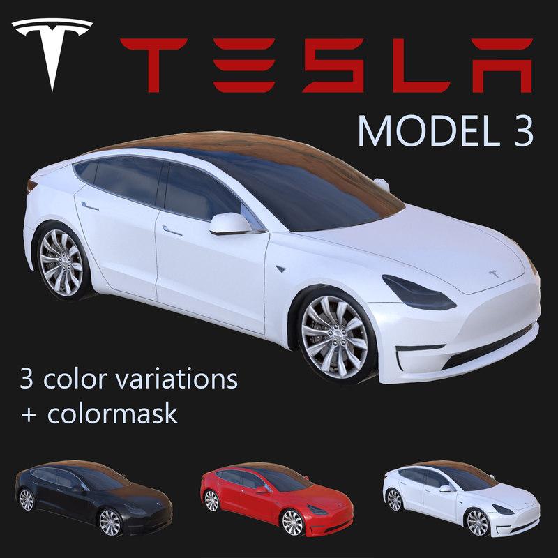 electric sedan tesla 3 3d model