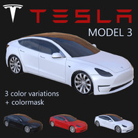 electric sedan tesla 3 3d model