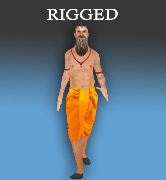 indian-mythological character-historical-gaming-rigged-godman-male 3d model