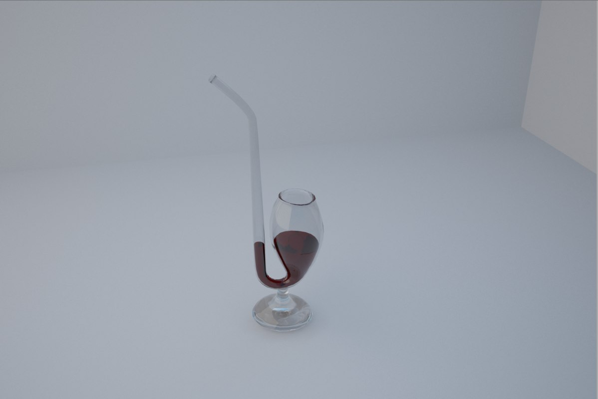 glasses wine straw 3d max