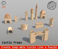 castle props 3d model