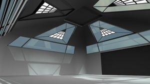 modern hangar building 3ds