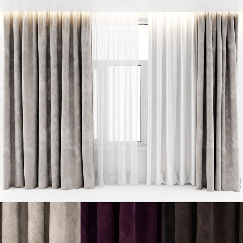 3d curtains velours model