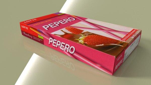lotte pepero strawberry 3d model