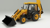 3d backhoe loader model
