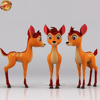fawn cartoon 3d obj
