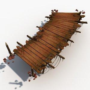 wood wooden bridge 3d max