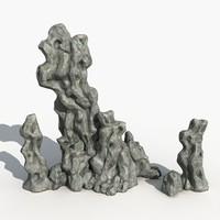free rock stone landscape 3d model