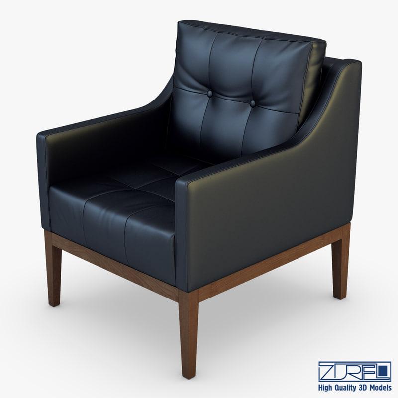 carmen armchair black leather 3d model