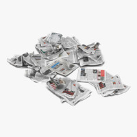 3d model newspaper litter 4 modeled