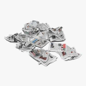 3d model newspaper litter 4 modeled