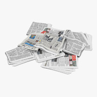 3d newspaper litter 3 modeled model