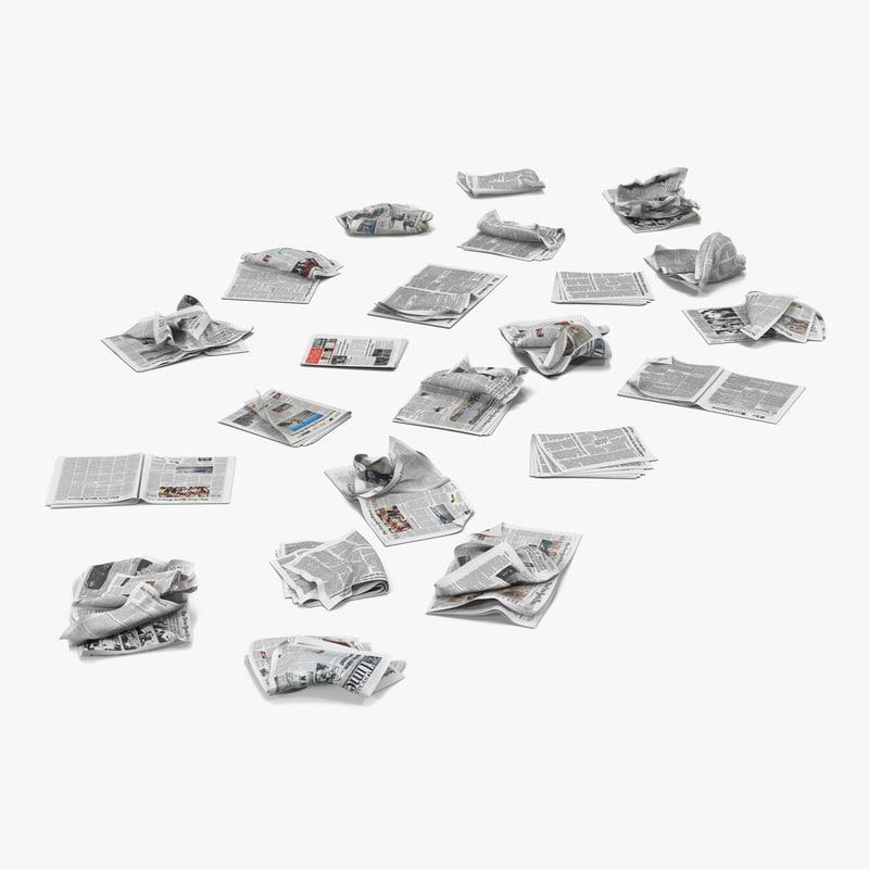 3d model newspaper litter 2 modeled