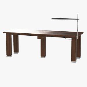 3d model modern table lamp wood