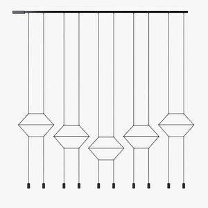 3d model pendant light wireflow hanging lamp
