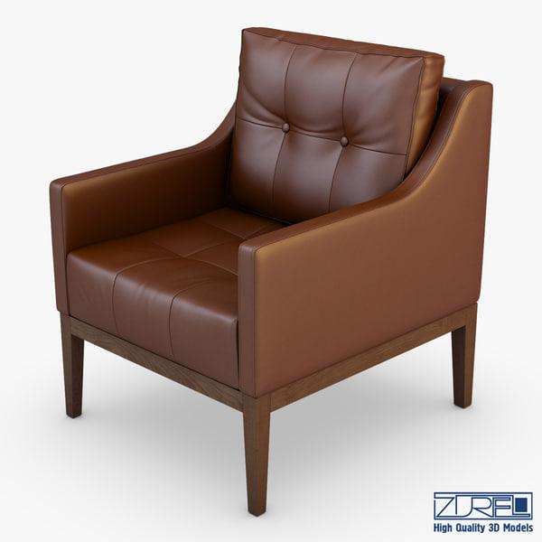 3d model of carmen armchair brown leather