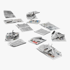 newspaper litter modeled 3ds