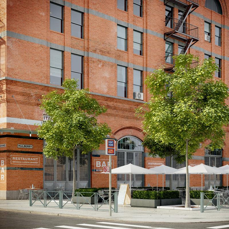 3d new york restaurant street