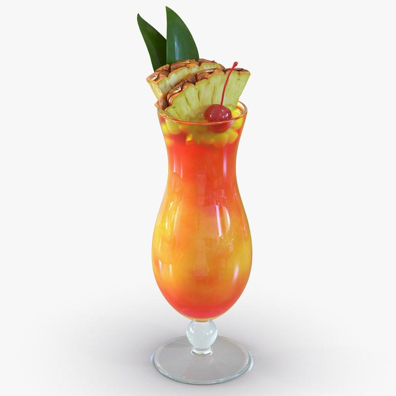 3d mai tai cocktail model