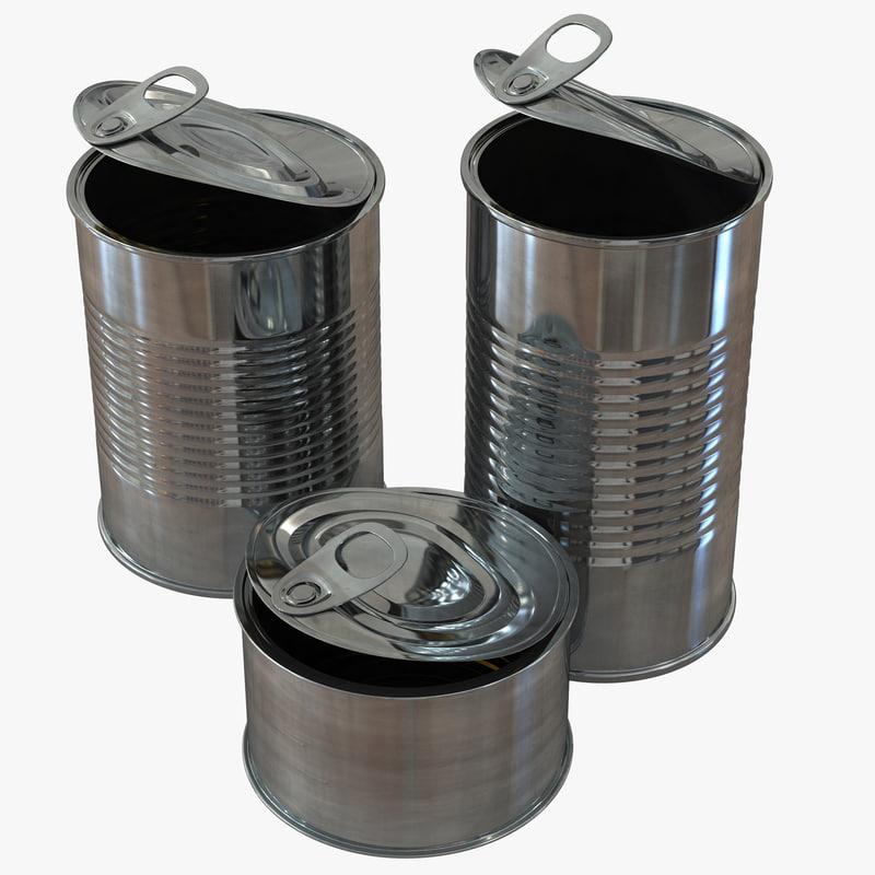 c4d open tin cans set