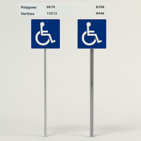 handicapped accessible signs 3d model