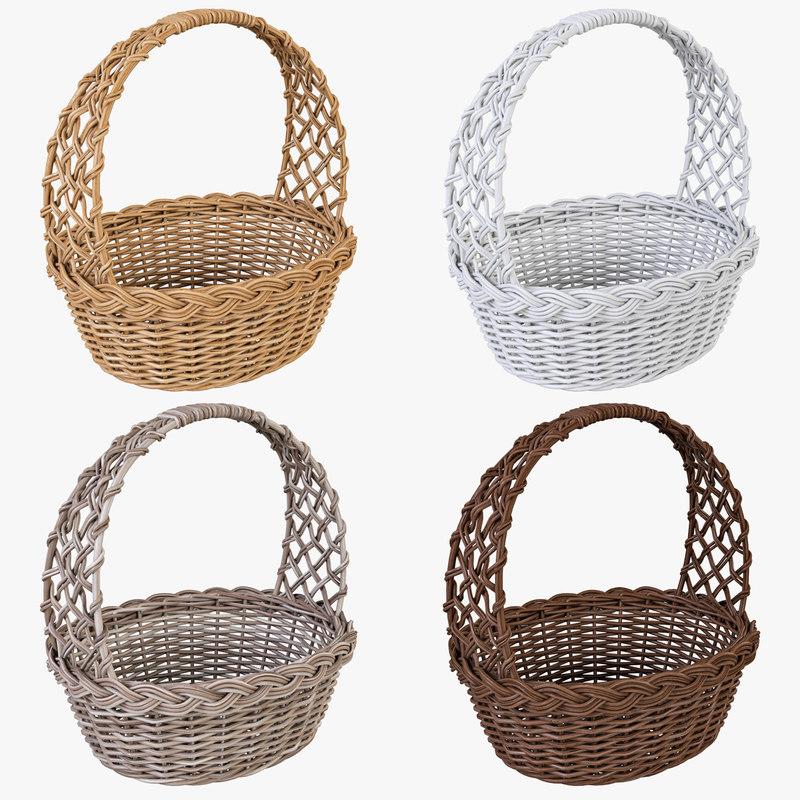 wicker basket color 3d model