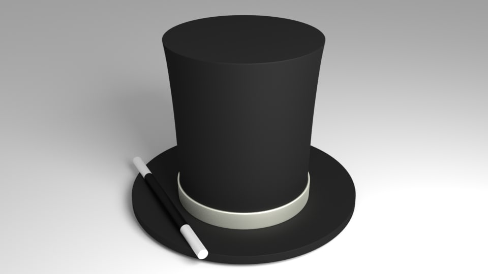 3d obj magician hat wand