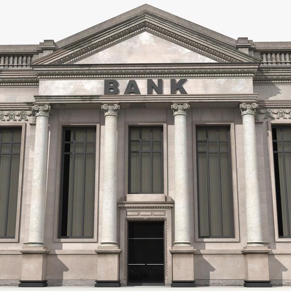 bank building modeled 3ds
