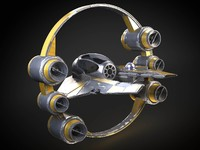 Jedi Starfighter Eta-2 with hyperdrive booster ring