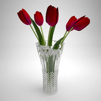 Glass vase with tulips