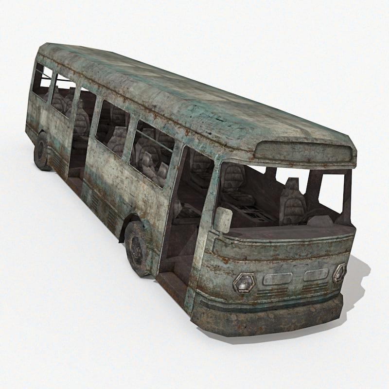 damaged bus 3d model
